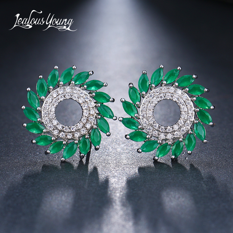 club factory Luxury Round Cubic Zircon Stud Earrings For Women Green Marquise Studs Ear For Party Bride Jewelry Gift Kupe AE590