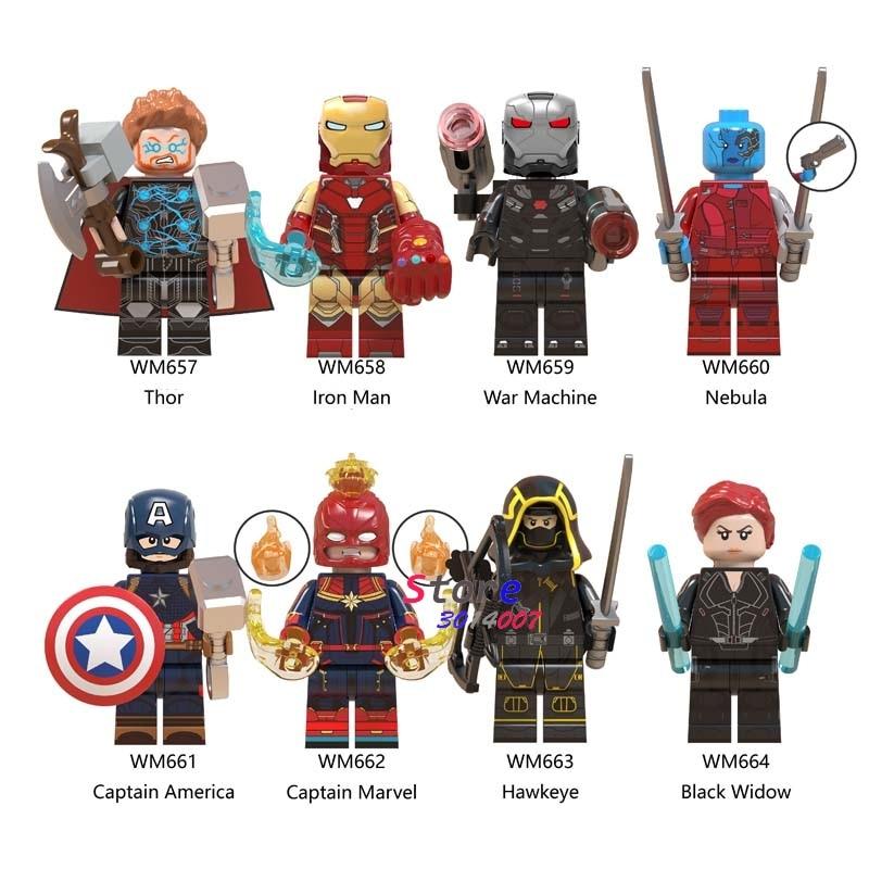 50pcs Avengers Endgame Thor Iron Man with Infinity Gauntlet Mjolnir breaker Hawkeye building block for children