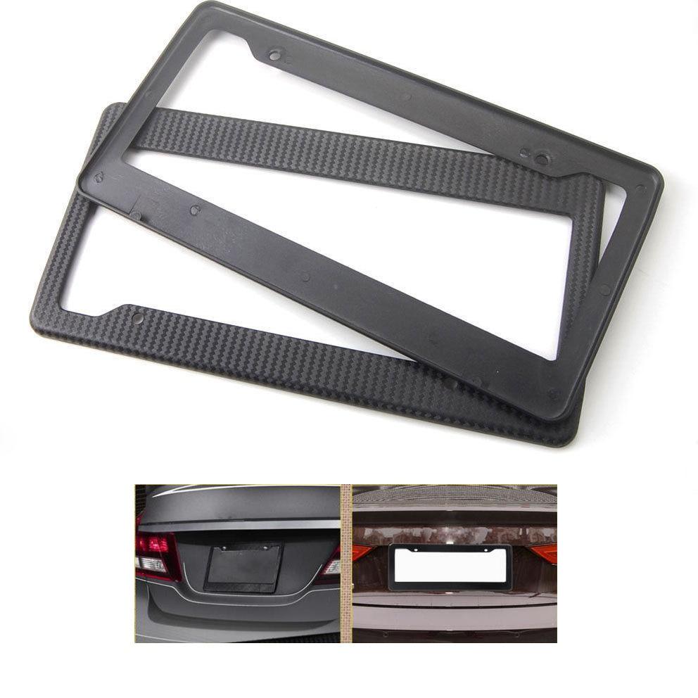 Black Carbon Fiber License Plate Frame For US Car Number Tag Cover Holder ABS