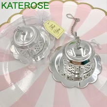400PCS  Kitchen Wedding Favors Stainless Steel Teapot Tea Infuser/Strainer Party Giveaway Gifts to Guest