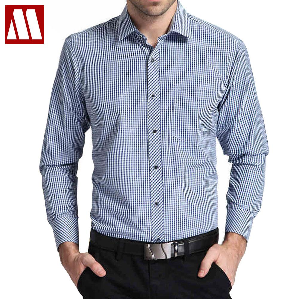 Plus size XS-4XL Male Business Plaid Shirts Formal Dress Shirts Long Sleeve Casual Shirt for men Chemise Homme Camisa Masculina