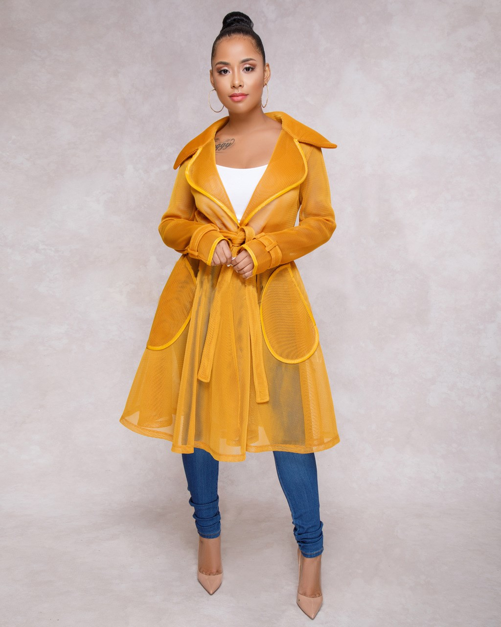 Fashion 2018 Autumn New Transparent Mesh Women   Trench   Coat Fashion Turn Down Collar Loose Coats Casual Belt Long Outerwear
