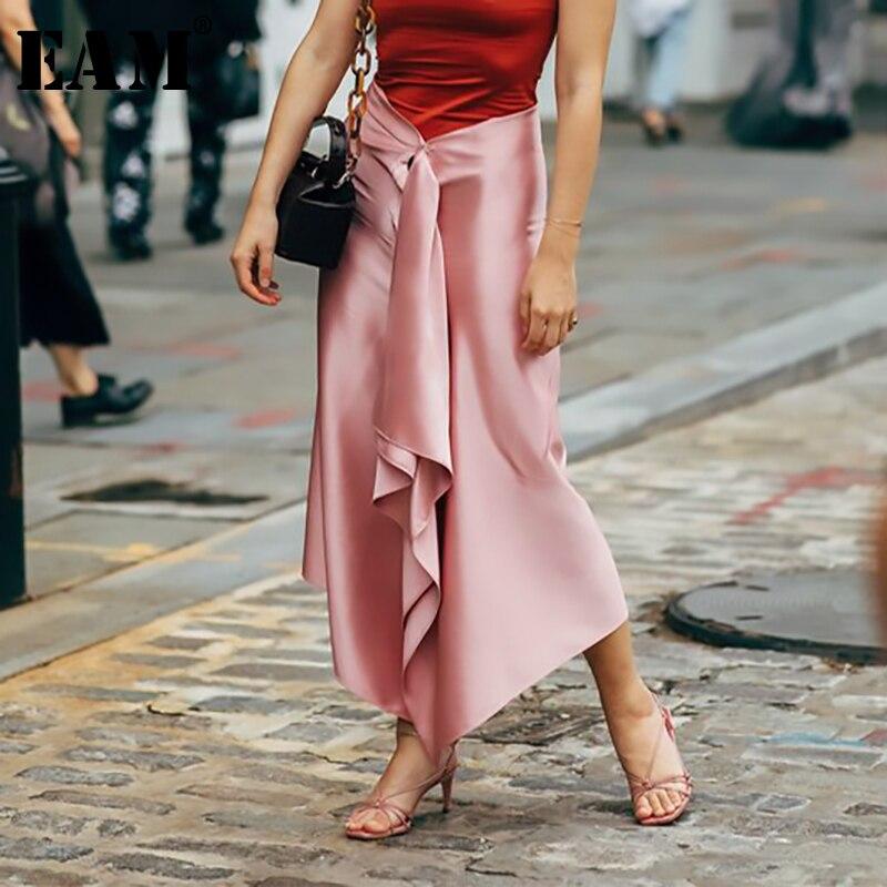 2019 今週の割引 EAM 春夏新作ハイウエスト不規則なスプリットジョイント包帯リボン半身スカート女性のファッション潮