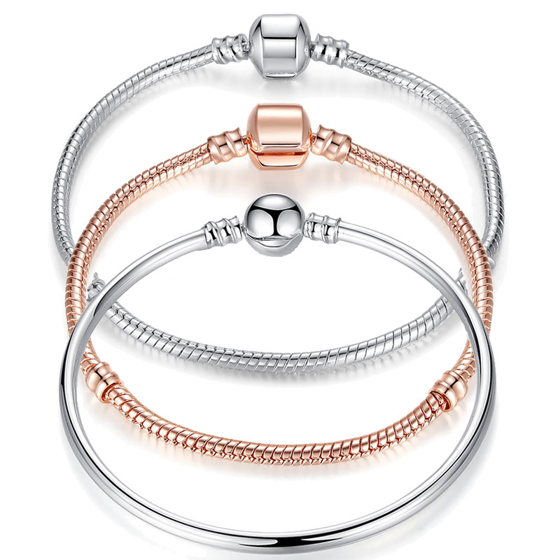 Brand Classic LOVE Silver Color Snake Chain DIY Women Bracelets & Bangles for Women Beads Charms Women Jewelry 3 Size WEU9009