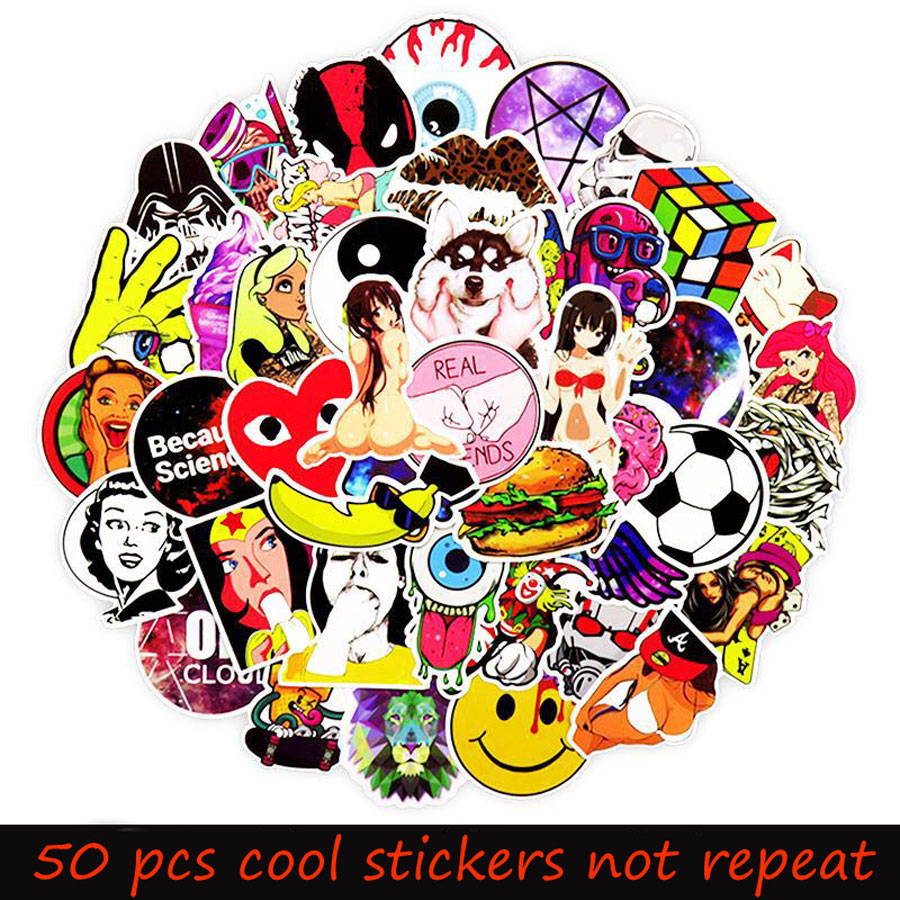 50Pcs/Lot Styling Pvc Waterproof Sexy Graffiti Anime Funny Stickers For Laptop Motorcycle Skateboard Luggage Decal Toy Sticker