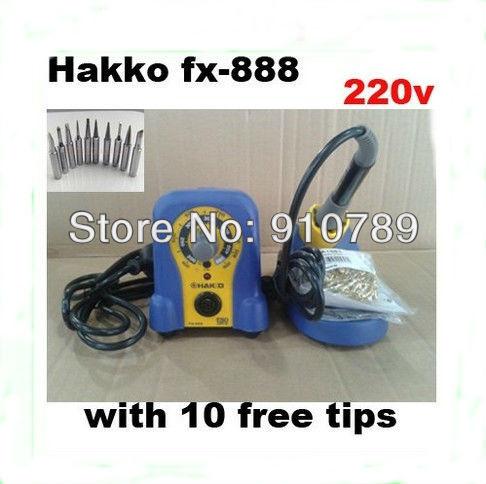 220V HAKKO FX-888  Solder Soldering Iron Station with 10 Free tips 900M-T ,DHL free shipping  цены