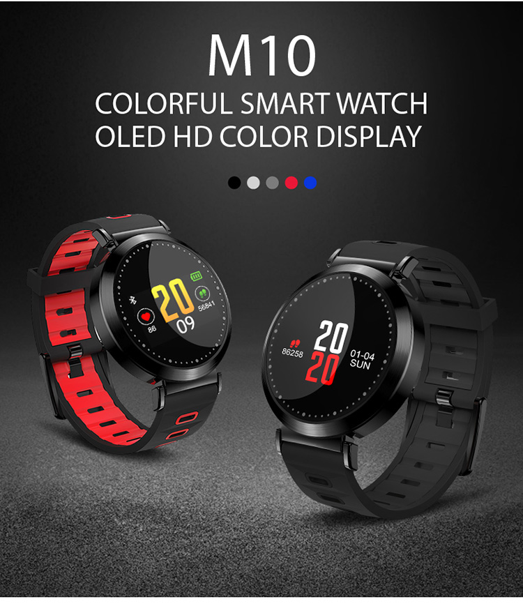 2018 OLED Smart Watches Female Male Blood Pressure Heart Rate Watch Calories Sleep Smartband for Iphone Android Changeable Strap