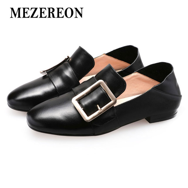 d8fab6c5733 MEZEREON Women Flats Fashion Buckles Loafers Real Leather Flat Shoes Woman  Slip On Women Loafer Shoes Spring Autumn Footwear