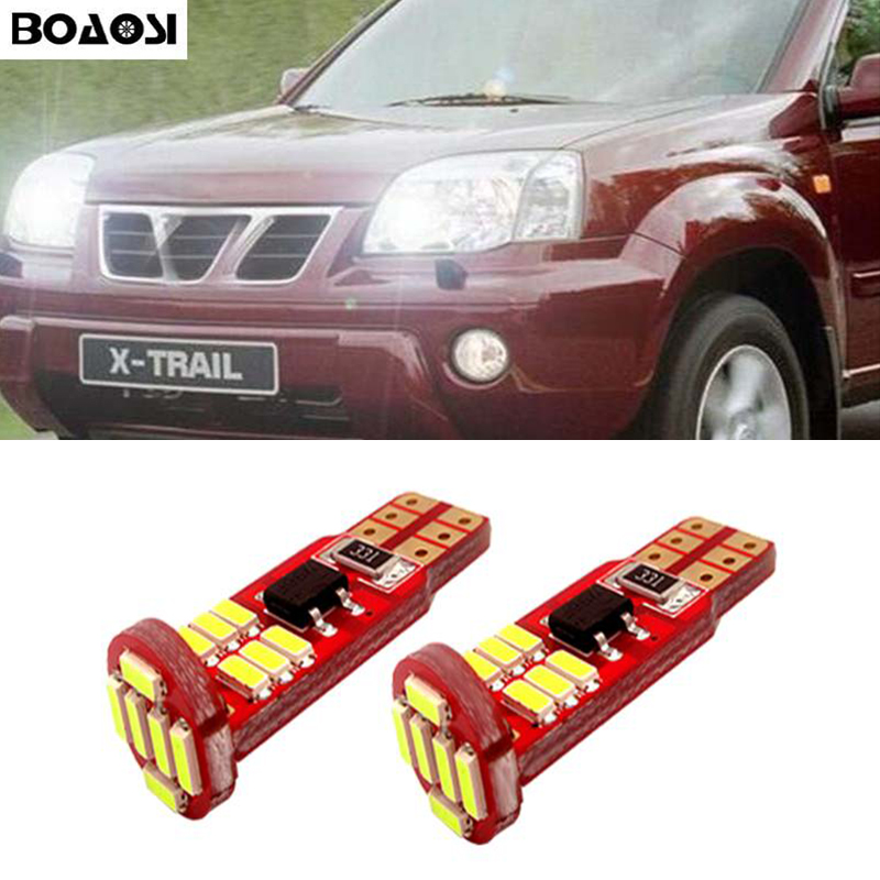 BOAOSI 2x Canbus LED T10 Clearance Parking Light Wedge Light For Nissan qashqai tiida new teana SYLPHY note almera juke