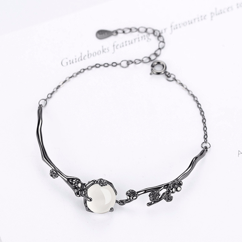 100 925 sterling silver fashion black gem natural white chalcedony ladies bracelets jewelry women female gift wholesale cheap in Chain Link Bracelets from Jewelry Accessories