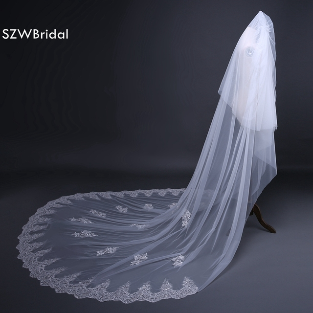Wedding Veil Cheap Long Cathedral with Comb Lace 3 Meters Cut Edge Weddings Accessories Voile de Mariage 2019 Bridal Veils