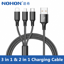 NOHON Nylon 3 in 1 Micro USB Type-C Charger Cables For Samsung Xiaomi Lighting Charging Cable 8 Pin For iPhone 7 8 6S Plus X XS цены