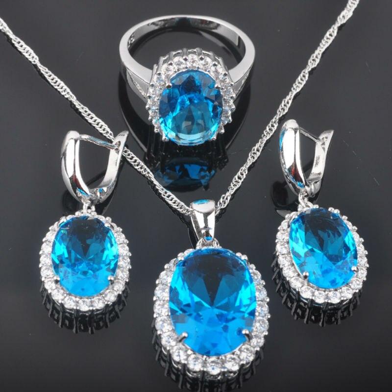 Hochzeits- & Verlobungs-schmuck Enchanting Blauen Stein Zirkonia Frauen 925 Sterling Silber Schmuck Sets Ohrringe/anhänger/halskette/ringe Freies Verschiffen Qz008