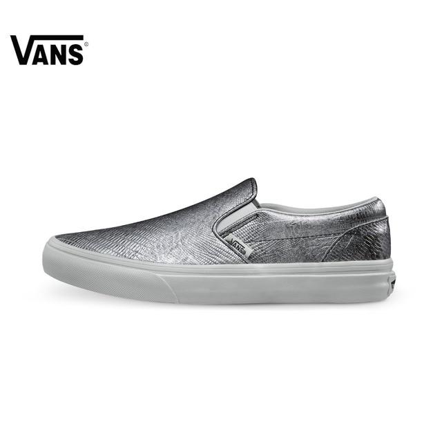 819251b47a Original Vans Shoes Silver Leather Low-top Women Skateboarding Shoes  Classic Rubber Canvas Shoes Sneakers Sports Women Shoes