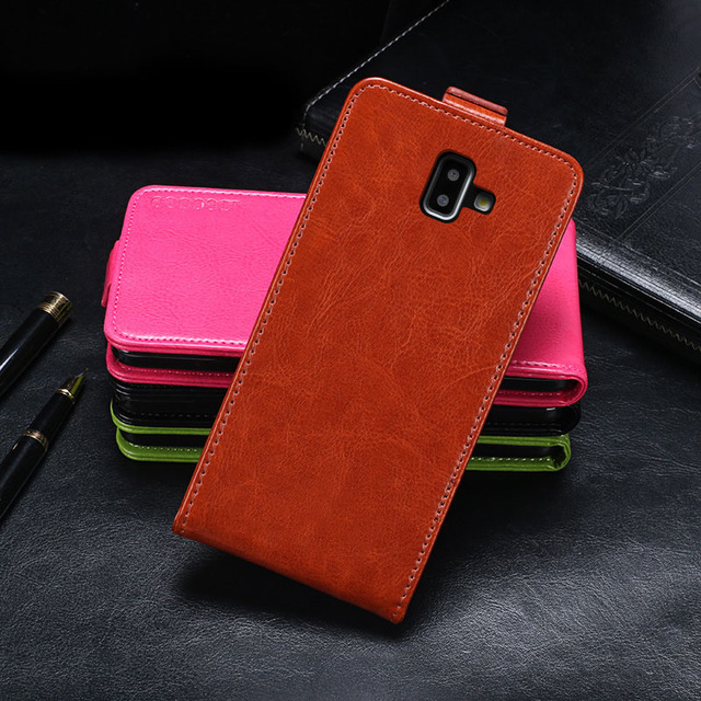 detailed look 38a0f b266c US $3.33 10% OFF|For Samsung Galaxy J6+ Case Cover Luxury Leather Flip Case  For Samsung J6 Plus SM J610F Protective Phone Case Back Cover-in Flip ...