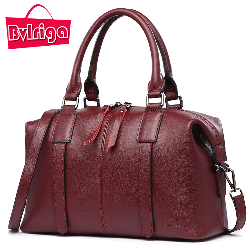 BVLRIGA Luxury Handbag Women Bag Designer Genuine Leather Handbag Women Famous Brand Crossbody Shoulder Messenger Bag Wine Red fashion casual michael handbag luxury louis women messenger bag famous brand designer leather crossbody classic bolsas femininas
