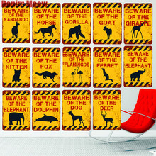 20x30CM BEWARE OF THE DOG Vintage Metal Sign Yard Zoo Farm Animal Decoration Plate Elephant Fox Ferret Horse Wall Poster N268