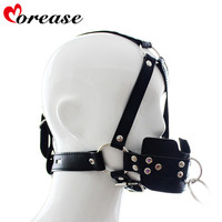 Morease Leather Open Mouth Gag Oral Mouth Butt Plug Fetish Slave Bdsm Bondage Harness Mask Hood Adult Sex Toys For Couples