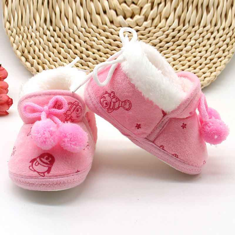 Baby Girls Shoes Winter Newborn Baby Flock Warm Soft Boots Pre-walker Shoes Infant Boy Toddler Soled First Walker Bootie