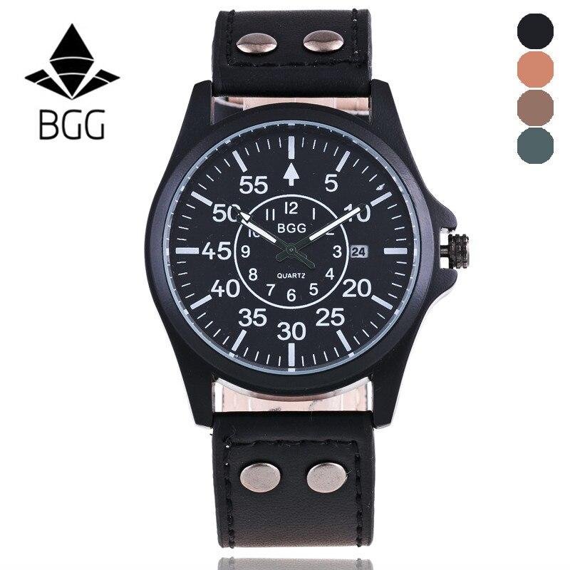 Men Watches Military Leather Waterproof Date Quartz Wrist Watch B2G Business Brand Luxury Sport Digital Relogio Masculino Saat  недорого