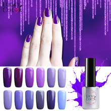Lucky Color 12 Colors Pure Purple Series Gel Nail Polish High Quality Long-lasting Soak Off UV LED Beauty Nail Art Tools 10ml