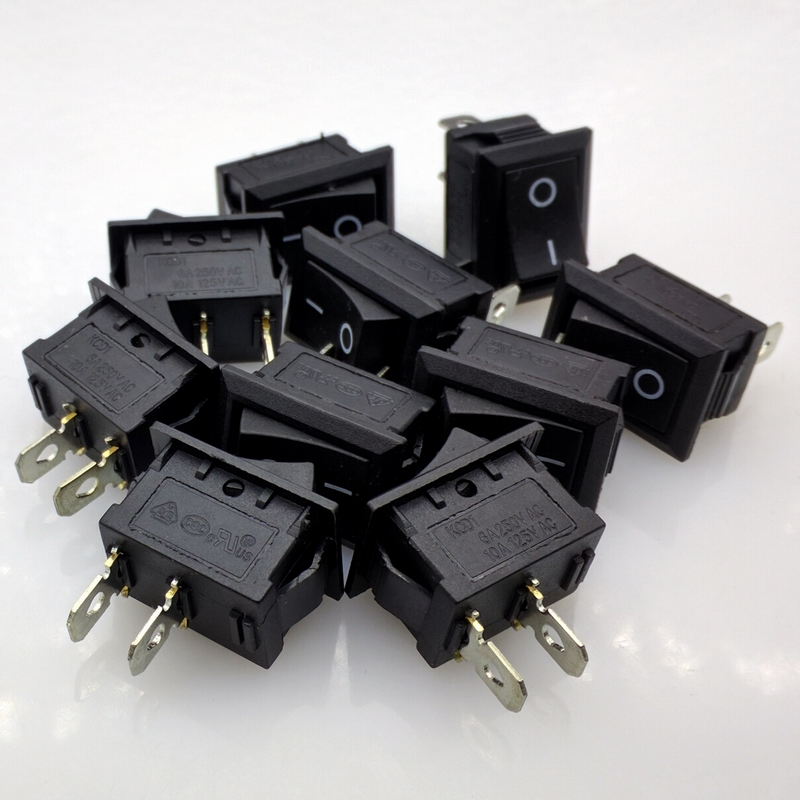 Free shipping KCD1-101 rocker switch boat switch rocker switch Power switch 6A/250V 10A/125V 10pcs/lot 5 pcs ac 6a 250v 10a 125v 3 pin black button on on round boat rocker switch