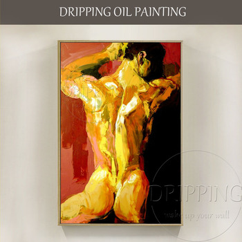 Skilled Artist Hand-painted 2 Styles Impressionist Nude Man Oil Painting on Canvas Hot Bodies Nude Man Figures Oil Painting