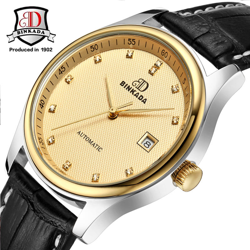 2017 BINKADA Famous Brand Watches Automatic Self-Wind Mechanical Watch For Men Genuine Leather Strap Fashion Wrist Watch hot sale famous bp brand princess butterfly lady lucky clover watch austrian crystal automatic self wind wrist watch