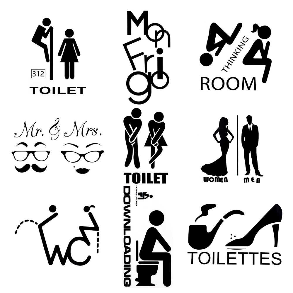 9 Styles Waterproof Bathroom Home Art Door Decor Wall Sticker Vinyl Poster Toilet Decals Vinyl Wall Decals for Door Toilet Wall
