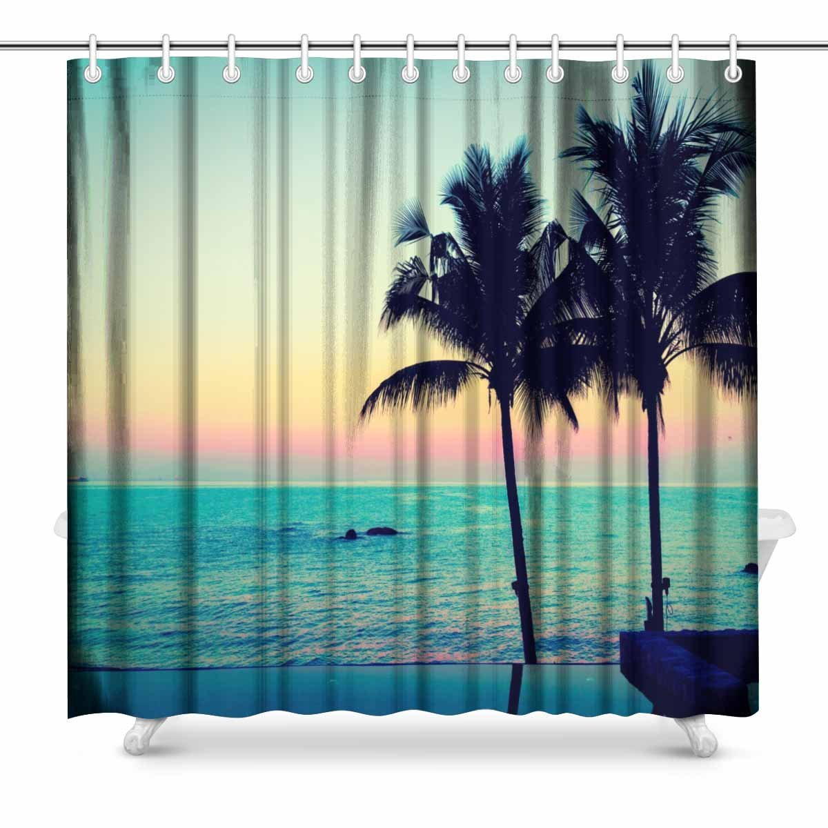 Us 29 99 Aplysia Palm Tree And Beautiful Luxury Hotel Swimming Pool At Twilight Times Vintage Filter Bathroom Decor Shower Curtains In Shower