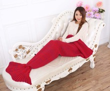 Yarn Knitted Mermaid Tail Blanket Handmade Crochet Mermaid Blanket Kids Throw Bed Wrap Super Soft Sleeping