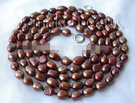 Free shipping >>@ 1511 long 9-11mm baroque coffee freshwater cultured pearl necklace 50""