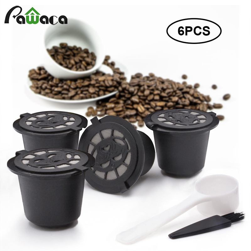 Empty Capsule Reusable Coffee Filter Cup with Spoon Brush Black Refillable Coffee Capsule Refilling Filter Coffeeware