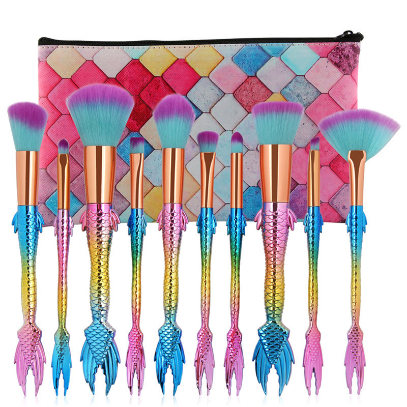 10Pcs Mermaid Make Up Brushes Set Colorful Eyeshadow Blush Foundation Brush Kit with Brush Bag тушь make up factory make up factory ma120lwhdr04
