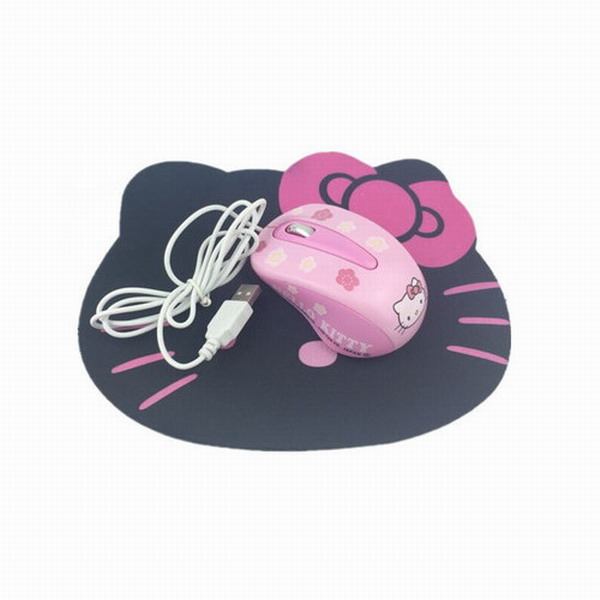 New Hello Kitty Wired Mouse Computer USB Optical Mouse + Cute Mouse Pad For Computer Lap ...