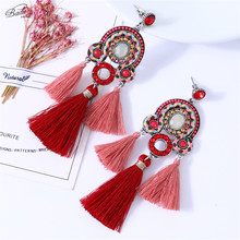 Badu Ethnic Earring Red Colorful Crystal Beads Chinese Style Big Exaggerated Fashion Jewelry Christmas Party Earrings
