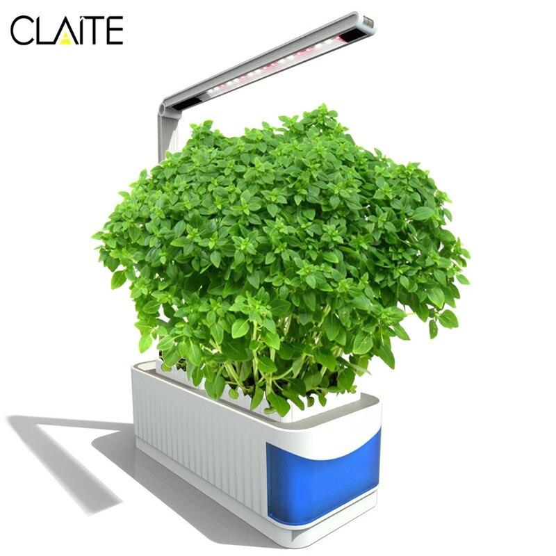 CLAITE LED crece luces interiores lámpara llena de la planta del espectro hierba hidroponía plantas jardín Kit lámpara ajustable palanca plantación