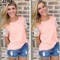 2017 Mulheres Camiseta de Algodão de Cor Sólida Casuais T-shirt Do Laço Patchwork Feminino Verão Curto-luva Puff Luva de Slim Sexy camisa