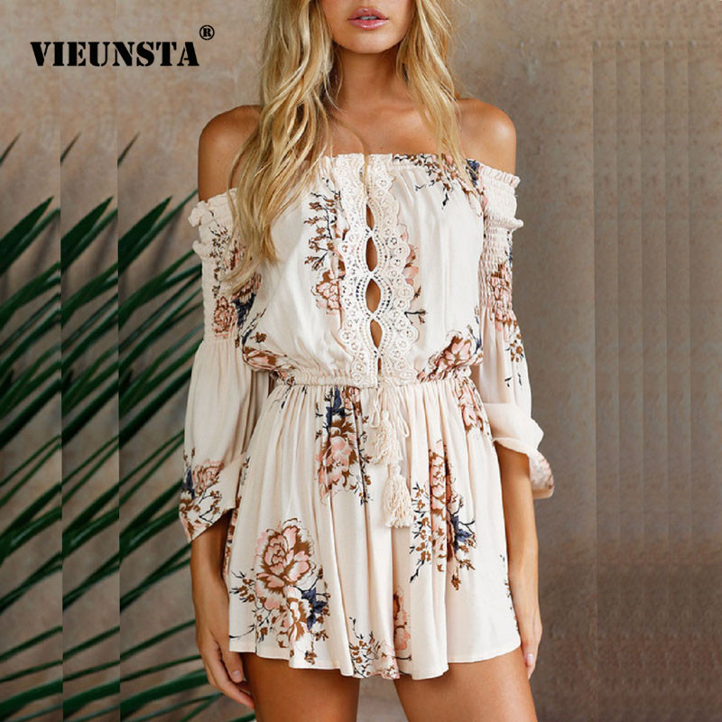 VIEUNSTA Women Off Shoulder Boho Floral Print Playsuits Sexy Spring Summer Lace Short Rompers Elegant Party Jumpsuits Overalls