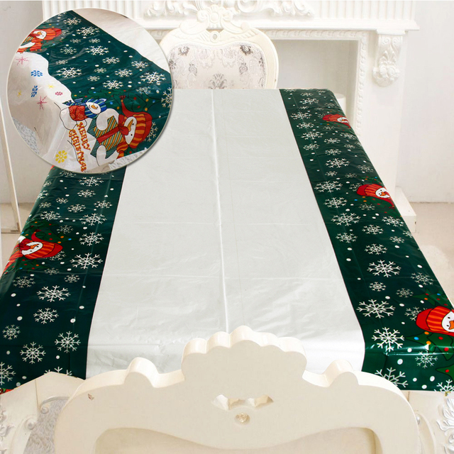 4 Styles Christmas Tree Snowman Santa Xmas Bell Tablecloth Table Cover Cloth House