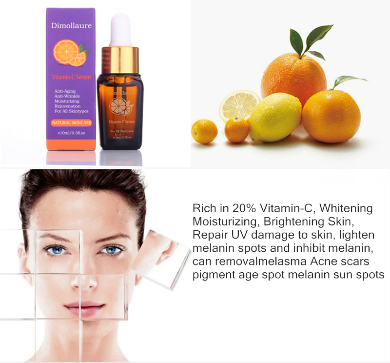 Dimollaure Vitamin C Whitening Serum Hyaluronic Acid Face Cream removal scar Freckle melasma Acne Spot pigment sunburn Melanin
