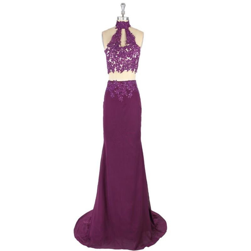 2017 Sexy Natural Waist Appliques Beading Sleeveless Sheath Sweep Train Lace-up Satin Two Pieces Prom Dress