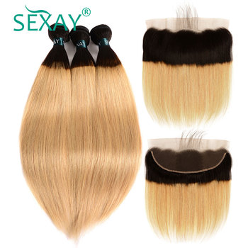 SEXAY 1B/27 Honey Blonde Hair Ombre Brazilian Straight Hair Bundles With Closure Non Remy Human Hair 2/3 Bundles With Frontal