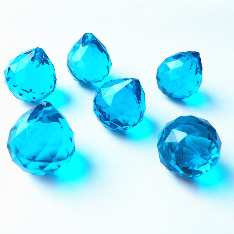 20mm 50pcs Aqua Crystal Faceted Chandelier Balls Glass Prism Fengshui Suncatcher Pendants Christmas Tree Hanging Decoration