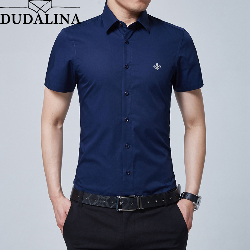 Dudalina Brand New Formal Shirt Men Short Sleeve Shirt Turn Down Color Slim Fit Casual Shirt Plus Size M-5XL Camisa Masculina