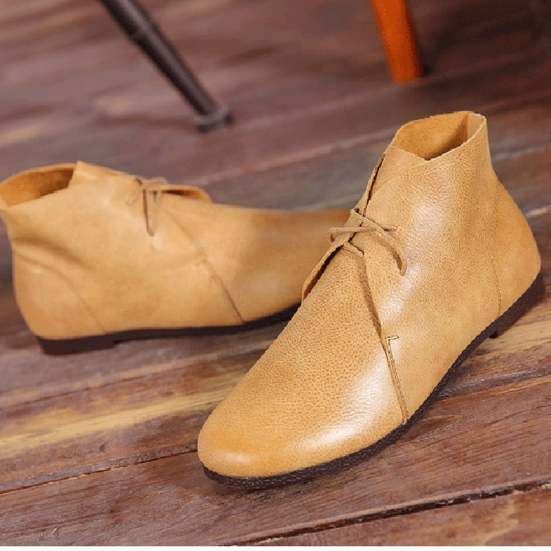 Women's Shoes Ankle Boots Genuine Leather lace up Summer Boots Grey/Brown/Black Boots Female Spring Footwear (722-6) front lace up casual ankle boots autumn vintage brown new booties flat genuine leather suede shoes round toe fall female fashion