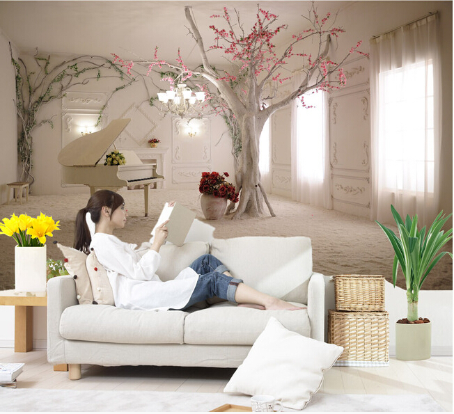 The  Custom 3D Murals, The Piano In The Snow , The Living Room Sofa TV Wall Bedroom Background Wall Paper