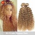 8A Brasileiro Kinky Curly Virgem Cabelo Crespo Encaracolado Barato Virgem Extensão Do cabelo 3 Peça 27 Mel Loira Tecer Cabelo Brasileiro 100g