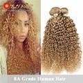 8A Brazilian Kinky Curly Virgin Hair Cheap Kinky Curly Virgin Hair 3 Piece 27 Honey Blonde Brazilian Hair Weave Extension 100g