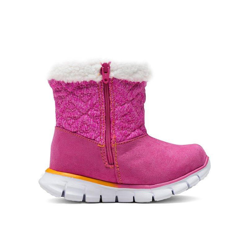 SKECHERS Kids Gilrl Winter Snow Boots Plush Mid Calf Zipper Leather Thicken Warm  Baby Toddler Boots Casual Sneaker Brand Shoe on Aliexpress.com  23c0d8b38